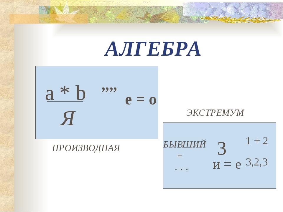 АЛГЕБРА a * b Я ,,,, е = о ПРОИЗВОДНАЯ БЫВШИЙ = . . . 3 и = е 1 + 2 3,2,3 ЭКС...