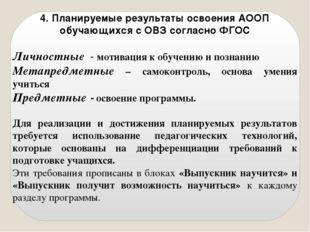 4. Планируемые результаты освоения АООП обучающихся с ОВЗ согласно ФГОС Лично