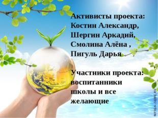 Активисты проекта: Костин Александр, Шергин Аркадий, Смолина Алёна , Пигуль