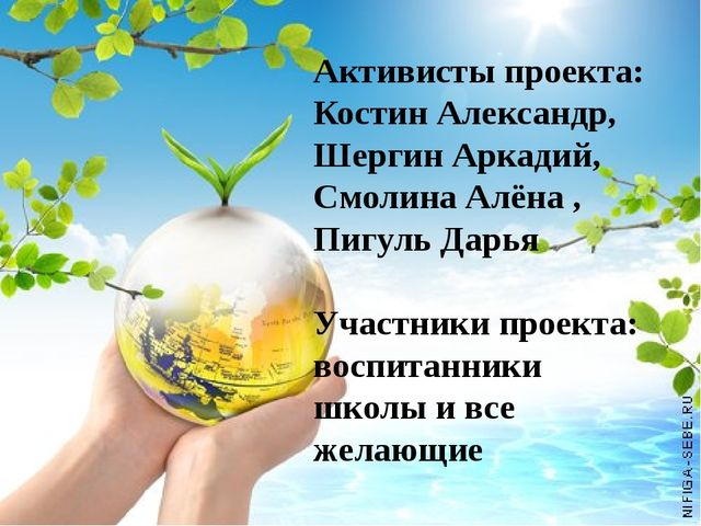 Активисты проекта: Костин Александр, Шергин Аркадий, Смолина Алёна , Пигуль...