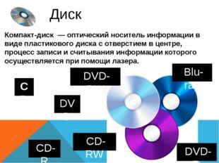 Диск CD DVD Компакт-диск—оптический носитель информациив видепластиковог