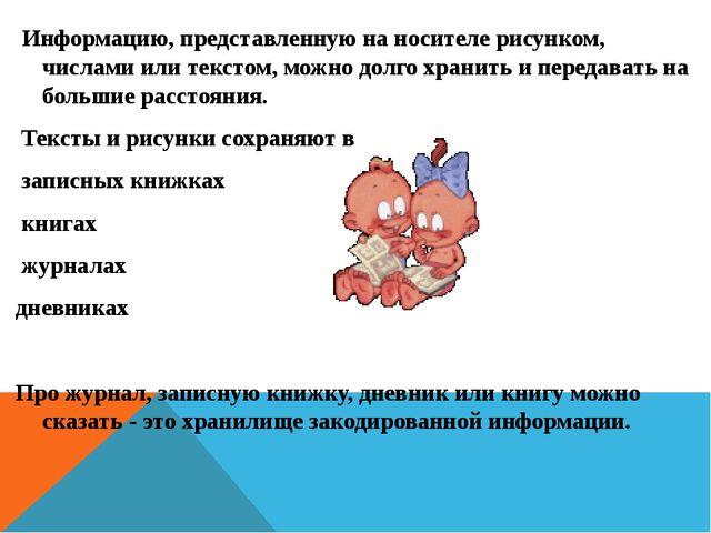 Информацию, представленную на носителе рисунком, числами или текстом, можно...