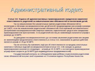 Административный кодекс Статья 111 Кодекса об административных правонарушения