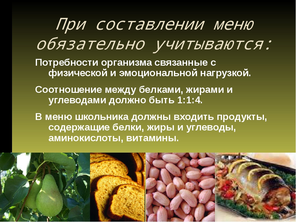 При составлении меню обязательно учитываются: Потребности организма связанны...