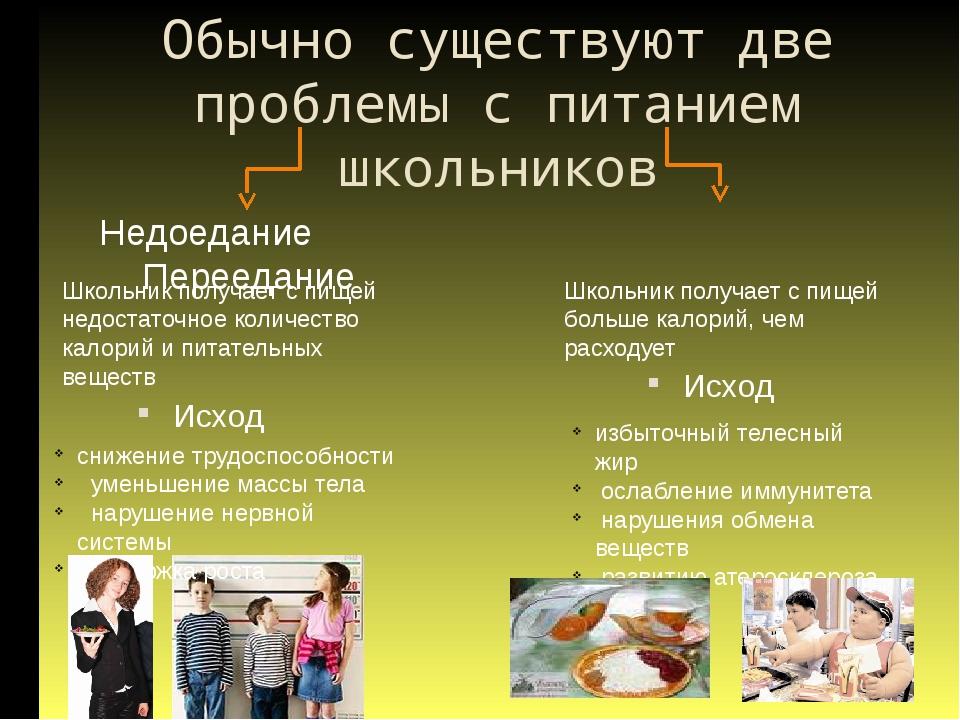 Обычно существуют две проблемы с питанием школьников Исход Недоедание Перееда...