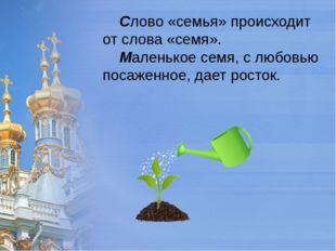 Слово «семья» происходит от слова «семя». Маленькое семя, с любовью посаженн