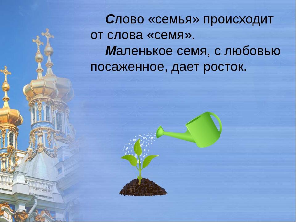 Слово «семья» происходит от слова «семя». Маленькое семя, с любовью посаженн...