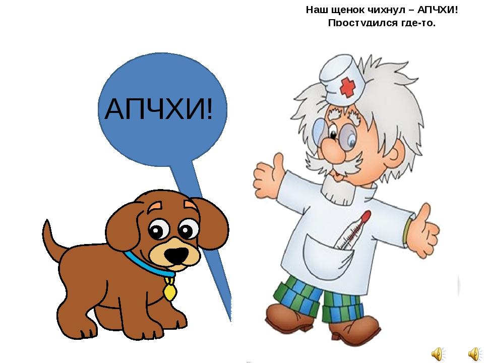 Наш щенок чихнул – АПЧХИ! Простудился где-то. Будем мы его лечить С помощью т...