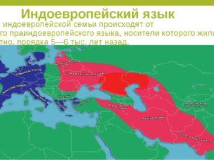 Индоевропейский язык Языки индоевропейской семьи происходят от единогопраинд