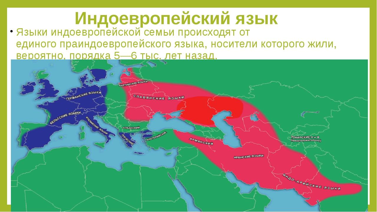 Индоевропейский язык Языки индоевропейской семьи происходят от единогопраинд...