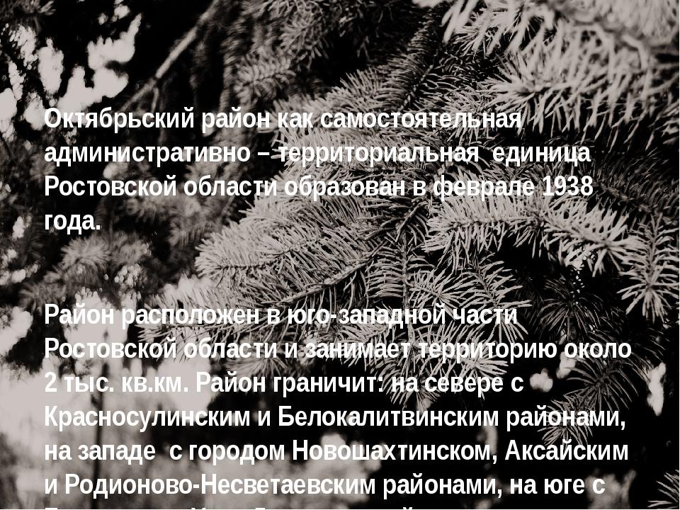 Октябрьский район как самостоятельная административно – территориальная едини...