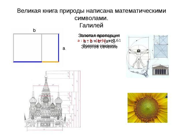 Великая книга природы написана математическими символами. Галилей b a