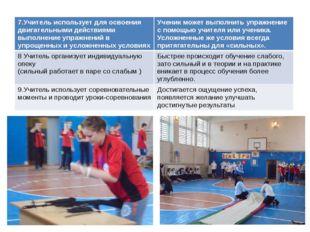 7.Учитель использует для освоения двигательными действиями выполнение упражне