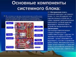 Основные компоненты системного блока: 12.Материнская плата- основной компон