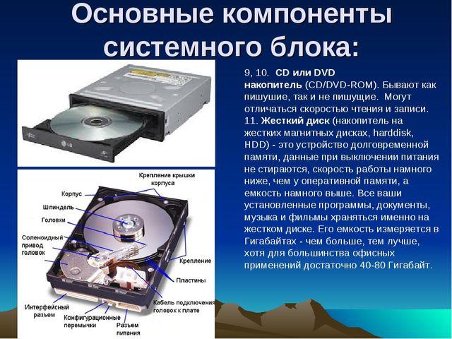 Основные компоненты системного блока: 9, 10.CD или DVD накопитель(CD/DVD-R...