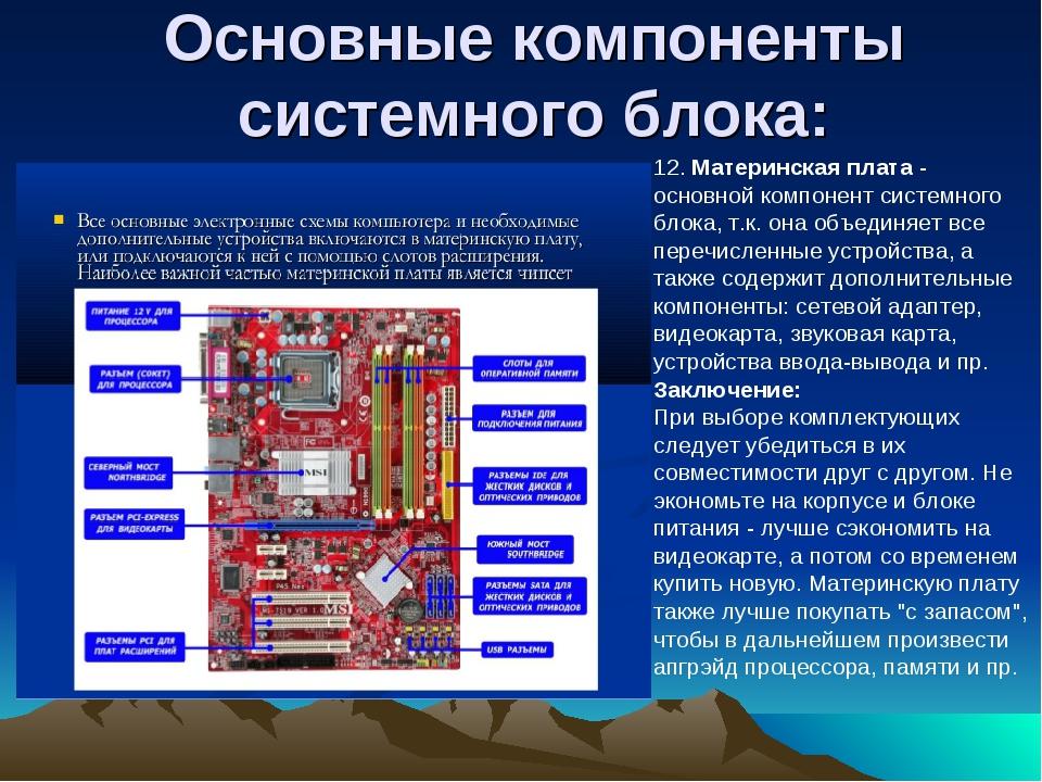 Основные компоненты системного блока: 12.Материнская плата- основной компон...