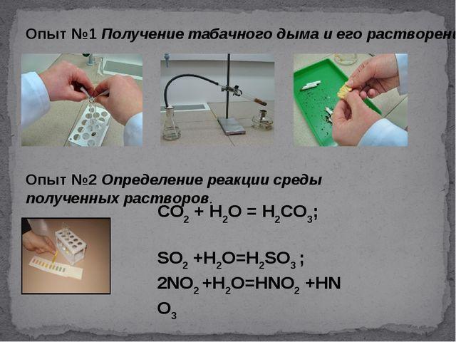 Опыт №1 Получение табачного дыма и его растворение Опыт №2Определение реакци...