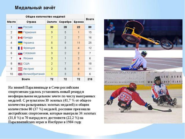 Медальный зачёт На зимней Паралимпиаде в Сочи российским спортсменам удалось...