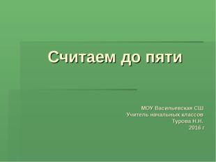 Считаем до пяти МОУ Васильевская СШ Учитель начальных классов Турова Н.Н. 201