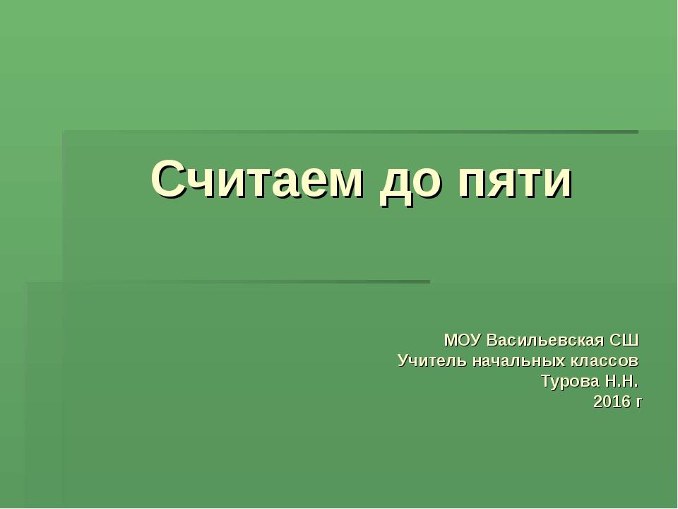 Считаем до пяти МОУ Васильевская СШ Учитель начальных классов Турова Н.Н. 201...