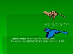Скорость гепарда 98 км/ч, скорость стрижа 111км/ч. Определите какое расстояни