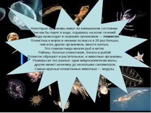 Некоторые организмы живут во взвешенном состоянии. Они как бы парят в воде, о