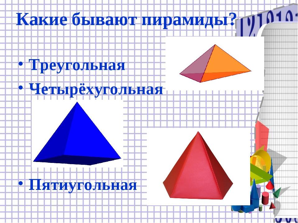 Какие бывают пирамиды? Треугольная Четырёхугольная Пятиугольная