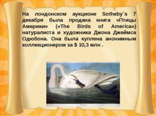 На лондонском аукционе Sotheby´s 7 декабря была продана книга «Птицы Америки»