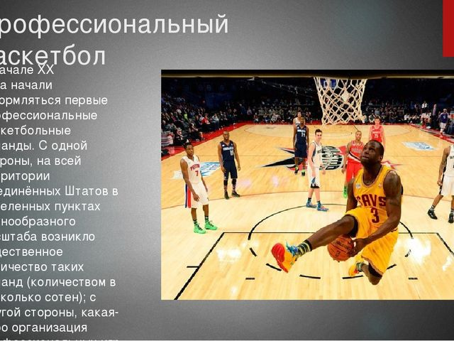 Профессиональный баскетбол В началеXX веканачали оформляться первые професс...