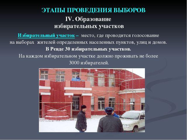 ЭТАПЫ ПРОВЕДЕНИЯ ВЫБОРОВ IV. Образование избирательных участков Избирательный...