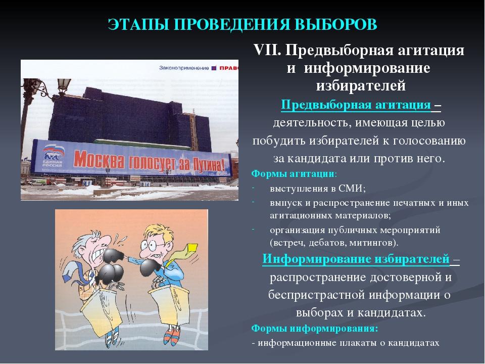 ЭТАПЫ ПРОВЕДЕНИЯ ВЫБОРОВ VII. Предвыборная агитация и информирование избирате...