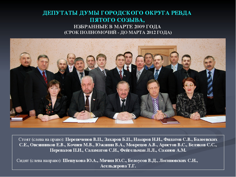 ДЕПУТАТЫ ДУМЫ ГОРОДСКОГО ОКРУГА РЕВДА ПЯТОГО СОЗЫВА, ИЗБРАННЫЕ В МАРТЕ 2009 Г...