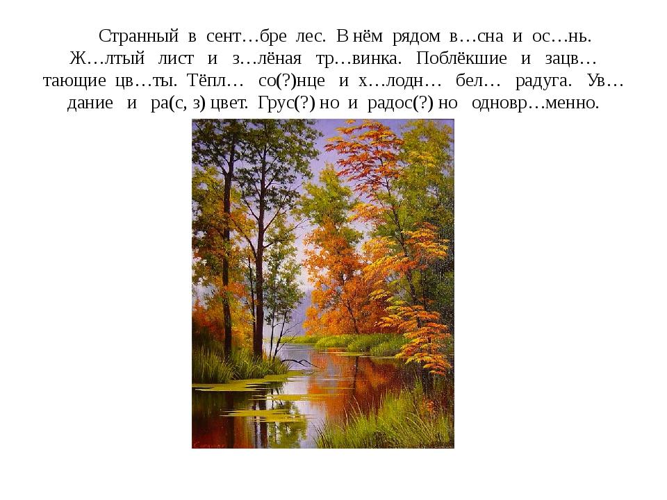 Странный в сент…бре лес. В нём рядом в…сна и ос…нь. Ж…лтый лист и з…лёная тр...
