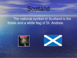 Scotland The national symbol of Scotland is the thistle and a white flag of S