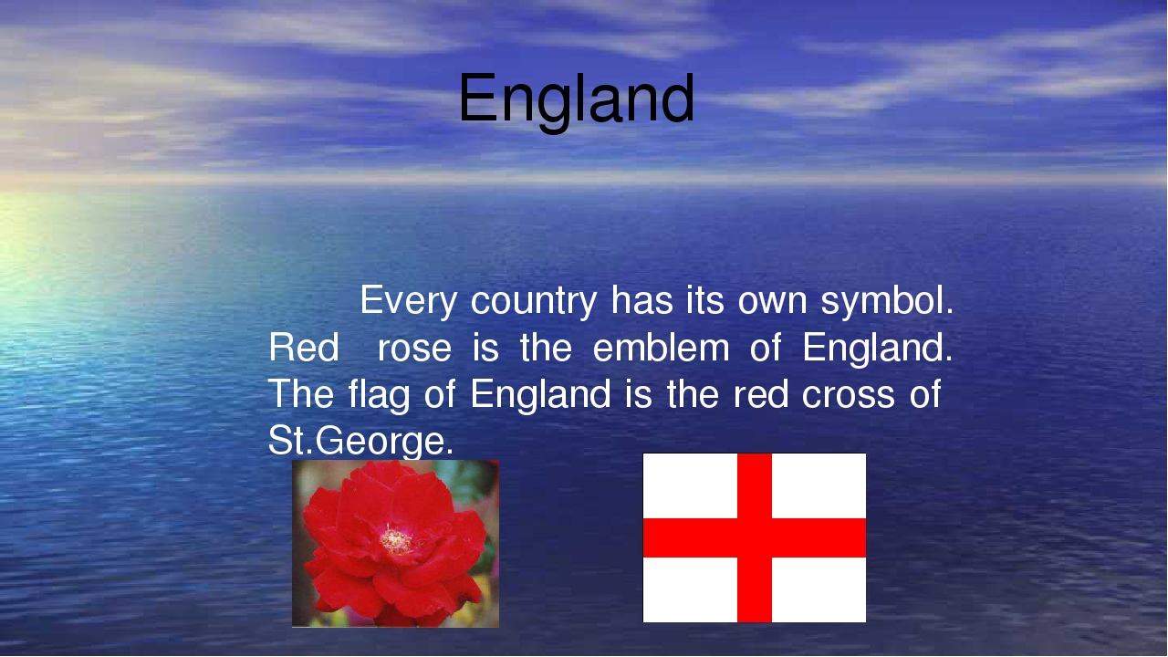 England Every country has its own symbol. Red rose is the emblem of England....