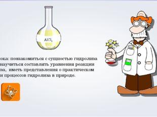Цель урока: познакомиться с сущностью гидролиза солей и научиться составлять