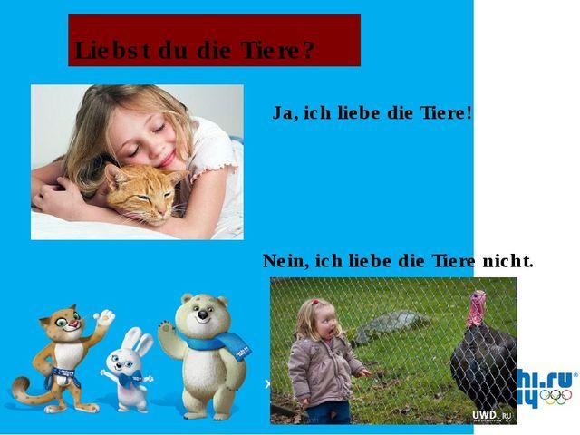 Liebst du die Tiere? Ja, ich liebe die Tiere! Nein, ich liebe die Tiere nicht.