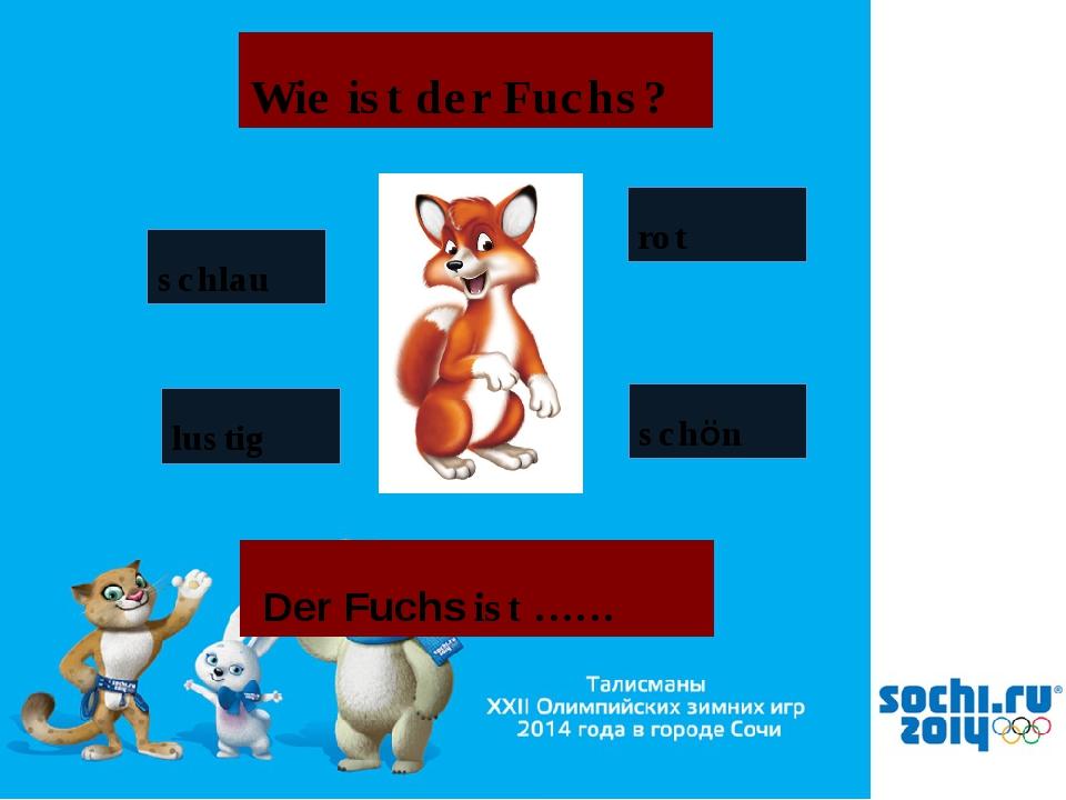 Wie ist der Fuchs? schlau schön rot lustig Der Fuchs ist ……