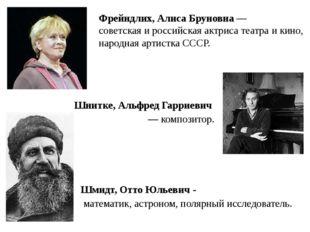 Шмидт, Отто Юльевич - математик, астроном, полярный исследователь. Шнитке, Ал