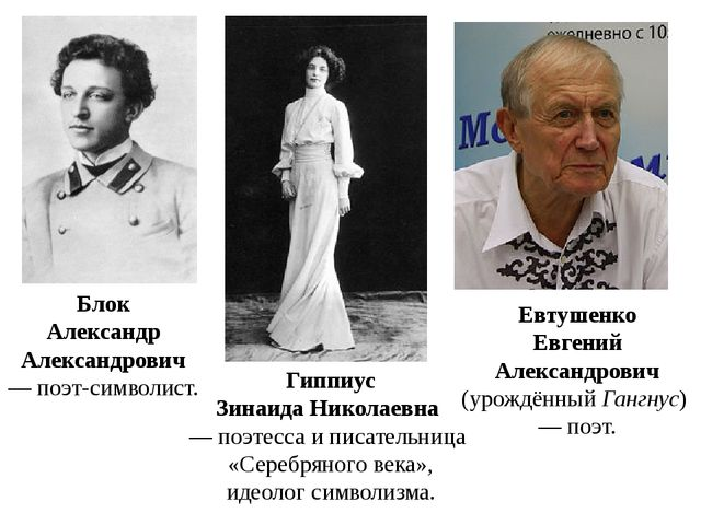Блок Александр Александрович — поэт-символист. Гиппиус Зинаида Николаевна —...