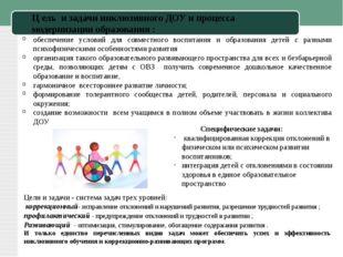 Ц ель и задачи инклюзивного ДОУ и процесса модернизации образования : Специфи