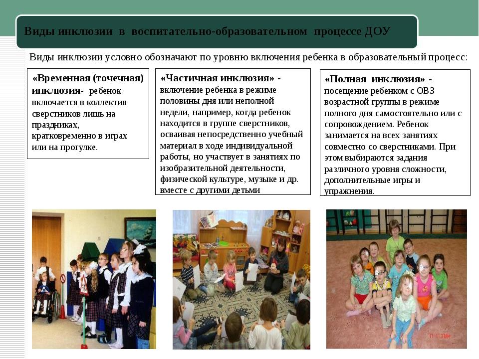 Виды инклюзии в воспитательно-образовательном процессе ДОУ Виды инклюзии усл...