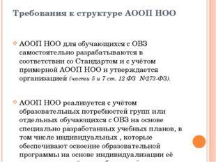 Требования к структуре АООП НОО АООП НОО для обучающихся с ОВЗ самостоятельно