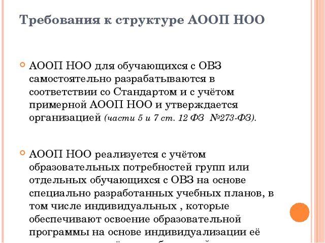Требования к структуре АООП НОО АООП НОО для обучающихся с ОВЗ самостоятельно...