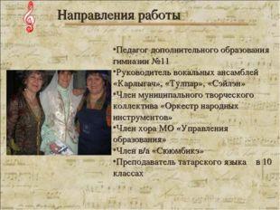 Педагог дополнительного образования гимназии №11 Руководитель вокальных анса