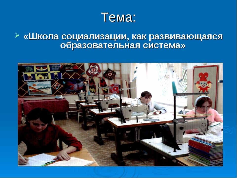 Тема: «Школа социализации, как развивающаяся образовательная система»