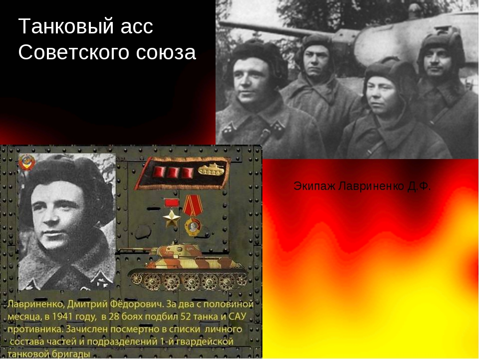 Танковый асс Советского союза Экипаж Лавриненко Д.Ф.