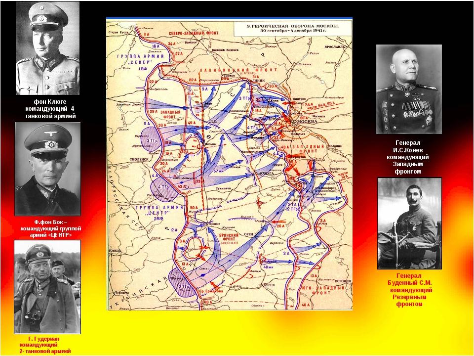 Ф.фон Бок – командующий группой армий «ЦЕНТР» фон Клюге командующий 4 танково...