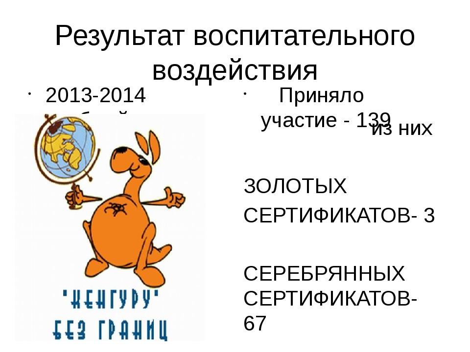 Результат воспитательного воздействия 2013-2014 учебный год Приняло участие -...