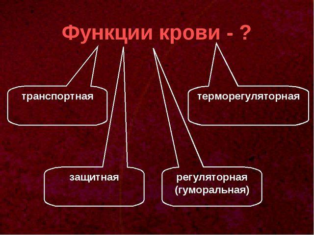 Функции крови - ? транспортная регуляторная (гуморальная) защитная терморегул...